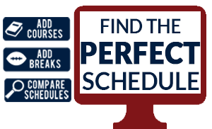 Find the perfect schedule - add courses, add breaks, compare schedules